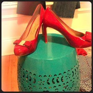 Salvatore Ferragamo Red Patent Leather Bow Pumps